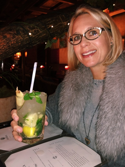 Mom with her fancy Moscow Mule at Asoka (asian tapas)