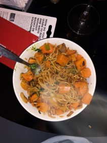 Delicious dinner of egg noodles and roasted veggies!