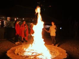 Post-drive bonfire